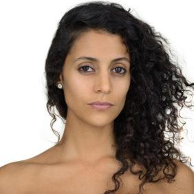 Shirtless Hispanic woman